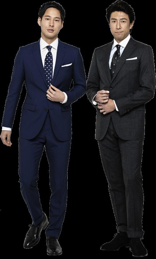 資格を有するスタッフが採寸、<br /> 国内名門ファクトリーで仕立てる<br /> プレミアムオーダースーツが<br /> お二人でも 2 着セット割で更にお買い求め安く